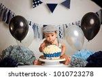 infant boy's first birthday... | Shutterstock . vector #1010723278