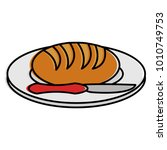 dish and cutlery with bread | Shutterstock .eps vector #1010749753