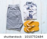 men's casual outfits of... | Shutterstock . vector #1010752684