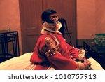 a kathakali artist green room...   Shutterstock . vector #1010757913