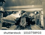 a kathakali artist green room...   Shutterstock . vector #1010758933