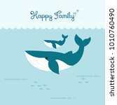 happy family whales swimming... | Shutterstock .eps vector #1010760490