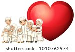 muslim family in white costume... | Shutterstock .eps vector #1010762974