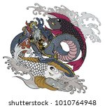 hand drawn and tattoo design... | Shutterstock .eps vector #1010764948