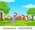 children playing slide in park... | Shutterstock .eps vector #1010766328
