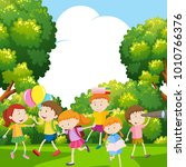 boys and girls in the park...   Shutterstock .eps vector #1010766376