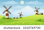 summer farm meadow vector... | Shutterstock .eps vector #1010769730