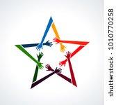 vector multiracial human hands...   Shutterstock .eps vector #1010770258