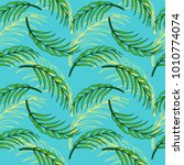 tropical leaf floral seamless... | Shutterstock .eps vector #1010774074