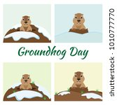 groundhog day card set | Shutterstock .eps vector #1010777770
