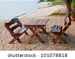 The Empty Picnic Table On Beach