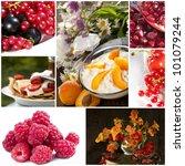 berries collage - stock photo