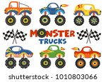 set of isolated monster trucks  ... | Shutterstock .eps vector #1010803066