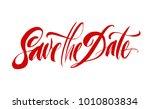 save the date lettering. brush... | Shutterstock .eps vector #1010803834