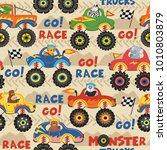 seamless pattern monster trucks ... | Shutterstock .eps vector #1010803879