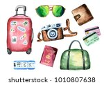 tourist set with suitcase  bag  ...   Shutterstock . vector #1010807638