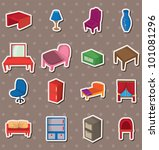 cartoon furniture stickers | Shutterstock .eps vector #101081296