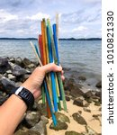 plastic straws found on a beach ...   Shutterstock . vector #1010821330