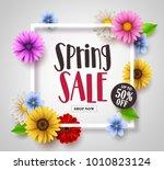 spring sale vector banner... | Shutterstock .eps vector #1010823124