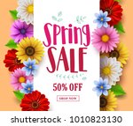 spring sale vector banner... | Shutterstock .eps vector #1010823130