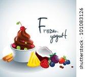 frozen yogurt with fruit topping | Shutterstock .eps vector #101083126