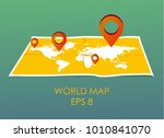 world map with pin pointers.... | Shutterstock .eps vector #1010841070