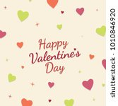 happy valentines day card with... | Shutterstock .eps vector #1010846920