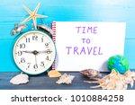 travel concept  vintage alarm...   Shutterstock . vector #1010884258