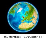 united kingdom in red on planet ...   Shutterstock . vector #1010885464