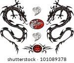 tribal tattoo dragon vector...