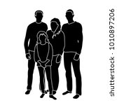 silhouette happy family | Shutterstock .eps vector #1010897206