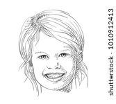 sketch of pretty smiling child... | Shutterstock .eps vector #1010912413
