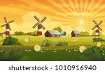 farm landscape panorama vector... | Shutterstock .eps vector #1010916940