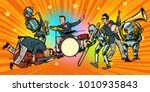 jazz rock n roll band of humans ... | Shutterstock .eps vector #1010935843