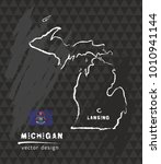 map of michigan  chalk sketch... | Shutterstock .eps vector #1010941144