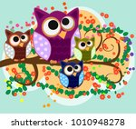 happy family of owls on... | Shutterstock .eps vector #1010948278
