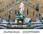 fountain neptune in piazza... | Shutterstock . vector #1010950684
