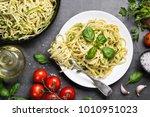 pasta spaghetti with zucchini ... | Shutterstock . vector #1010951023