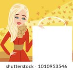 fashion woman and autumn sale | Shutterstock . vector #1010953546