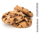 three chocolate chip cookies... | Shutterstock . vector #1010953930