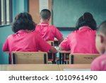 students are studying in the... | Shutterstock . vector #1010961490