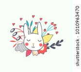 easter bunny vector image with... | Shutterstock .eps vector #1010963470