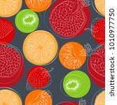 a pattern of fruit  colored... | Shutterstock .eps vector #1010977750