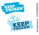 set of blue keep frozen product ... | Shutterstock .eps vector #1010980069