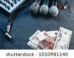 music equipment  microphones ... | Shutterstock . vector #1010981140