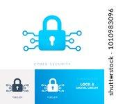 logo blue lock with digital... | Shutterstock .eps vector #1010983096
