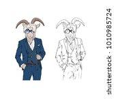 bearded goat man wearing dressy ...   Shutterstock .eps vector #1010985724