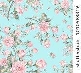 watercolor seamless rose... | Shutterstock . vector #1010988319