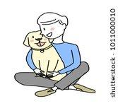 dog lover concept   cute man...   Shutterstock .eps vector #1011000010