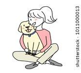 dog lover concept   cute woman... | Shutterstock .eps vector #1011000013